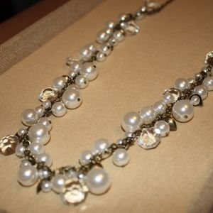 Pearl + Crystal Drops Long Necklace
